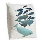 Beluga Whale Art Burlap Throw Pillow