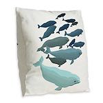 Beluga Whale Art Burlap Throw Pillow