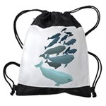 Beluga Whale Art Drawstring Bag