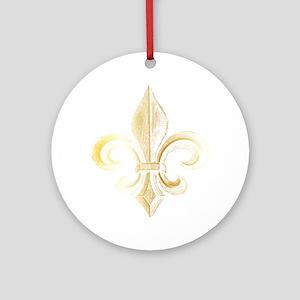 Gold Fleur De Lis Ornament (Round)