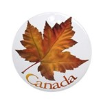 Canada Maple Leaf Souvenir Round Ornament