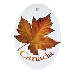 Canada Maple Leaf Souvenir Oval Ornament
