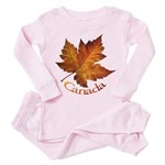 Canada Maple Leaf Souvenir Toddler Pink Pajamas