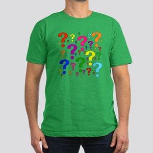 Rainbow Question Marks Men's Fitted T-Shirt (dark)