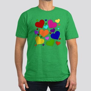Rainbow Hearts Men's Fitted T-Shirt (dark)