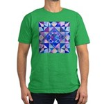 Blue Quilt Watercolor Men's Fitted T-Shirt (dark)