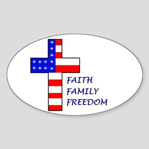 Faith, Family, Freedom Oval Sticker