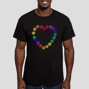 Cat Print Heart Men's Fitted T-Shirt (dark)