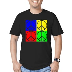 Four Colors Peace Signs on Black T-Shirt