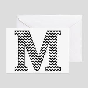 Black and White Chevron Letter M Monogram Greeting