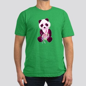 Breast Cancer Panda Bear Men's Fitted T-Shirt (dar