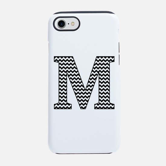 Black and White Chevron Letter M Monogram iPhone 7