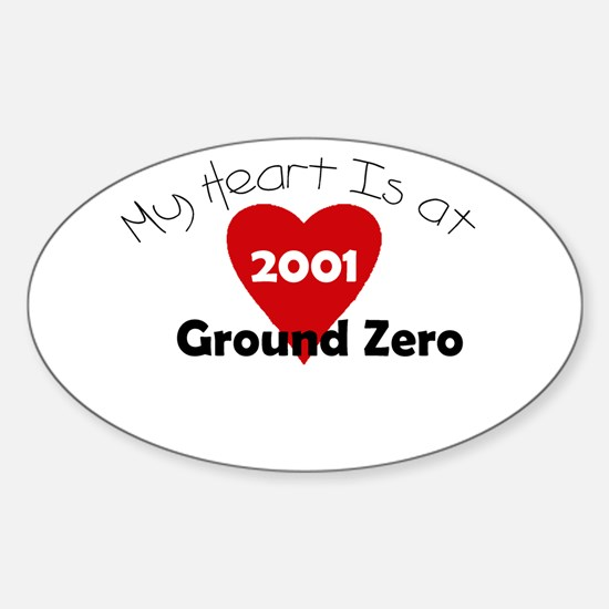 My Heart is at Ground Zero Oval Decal