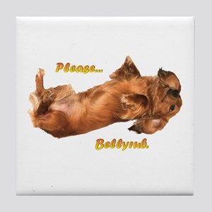 Bellyrub Doxie Tile Coaster