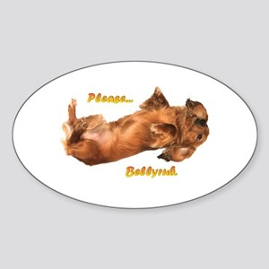 Bellyrub Doxie Oval Sticker
