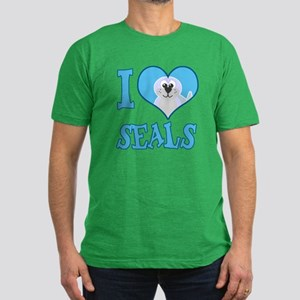 I Love (Heart) Seals Men's Fitted T-Shirt (dark)