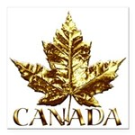 "Gold Canada Maple Leaf Square Car Magnet 3"" x 3"""