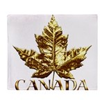 Gold Canada Maple Leaf Throw Blanket