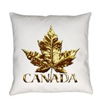 Gold Canada Maple Leaf Everyday Pillow
