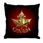 Gold Canada Maple Leaf Throw Pillow