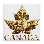 Gold Canada Maple Leaf Tile Coaster