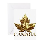 Gold Canada Maple Leaf Greeting Cards