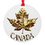 Gold Canada Maple Leaf Round Ornament