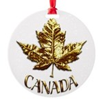 Gold Canada Maple Leaf Round Ornament