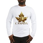 Gold Canada Maple Leaf Long Sleeve T-Shirt