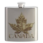 Gold Canada Maple Leaf Flask