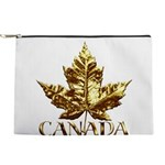 Gold Canada Maple Leaf Makeup Bag
