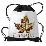 Gold Canada Maple Leaf Drawstring Bag