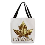 Gold Canada Maple Leaf Polyester Tote Bag