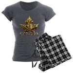 Gold Canada Maple Leaf Women's Charcoal Pajamas