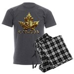 Gold Canada Maple Leaf Men's Charcoal Pajamas
