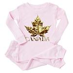 Gold Canada Maple Leaf Toddler Pink Pajamas