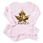 Gold Canada Maple Leaf Toddler Pink Pajamas