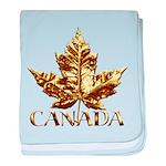 Gold Canada Maple Leaf baby blanket