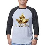Gold Canada Maple Leaf Mens Baseball Tee