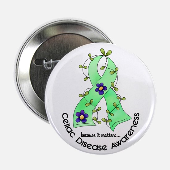 "Flower Ribbon CELIAC DISEASE 2.25"" Button (10 pack"