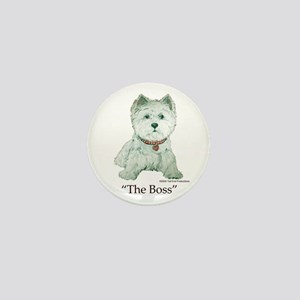 """""""The Boss"""" Westhighland White Terrier Mini Button"""