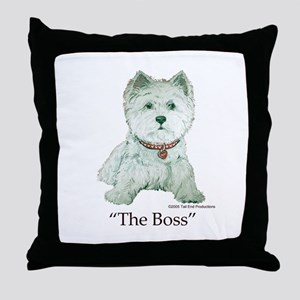 """The Boss"" Westhighland White Terrier Throw Pillow"