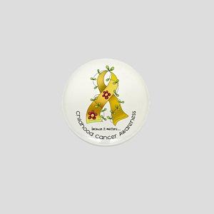 Flower Ribbon CHILD CANCER Mini Button