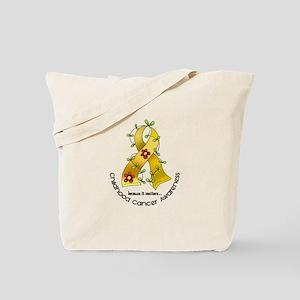 Flower Ribbon CHILD CANCER Tote Bag