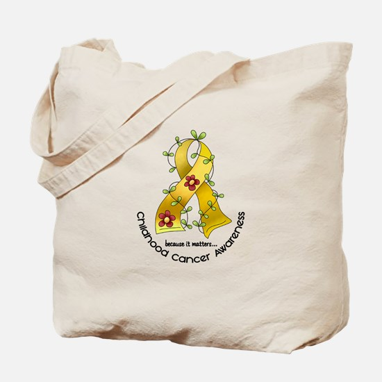 Flower Ribbon CHILD CANCER Tote Bag