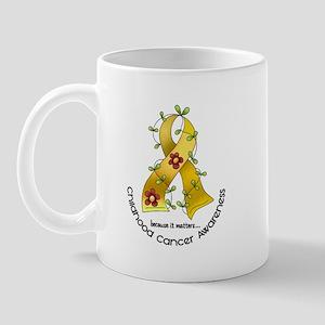 Flower Ribbon CHILD CANCER Mug