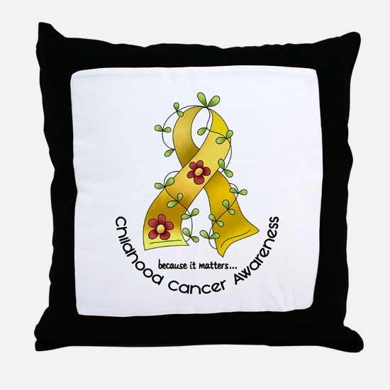 Flower Ribbon CHILD CANCER Throw Pillow
