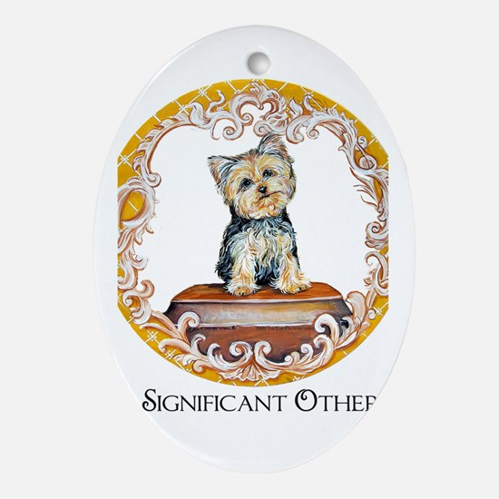 Yorkie Significant Other Oval Ornament