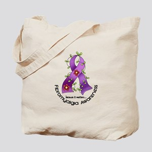 Flower Ribbon Fibromyalgia Tote Bag