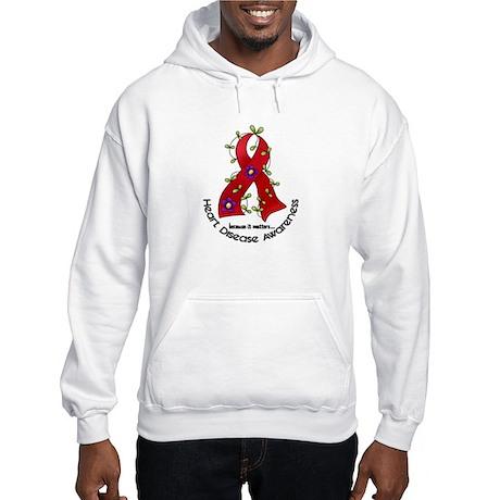 Flower Ribbon Heart Disease Hooded Sweatshirt